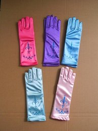 Wholesale Girls Holidays Gloves - ice and snow princess holiday party gloves Ladies Prom Wedding Accessories Children Bridesmaids Party Gloves Cheap DA9