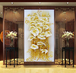 pintura diamante 5d cristal Rebajas 5D DIY diamante Pintura flor de lirio de cristal 3D punto de Cruz Costura decorativa diamante mosaico de diamantes bordado 50 * 90 cm