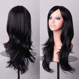 Wholesale Long Anime Wigs - WOMENS LONG HAIR WIG CURLY WAVY SYNTHETIC ANIME COSPLAY PARTY FULL WIGS STYLE APJ2 HOT SALE BLACK COLOR