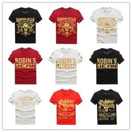 Wholesale New Hip Hop Jeans - 2016 New Robin's Jean Shirts Mens Robin Jeans Shirts 100% Cotton robins t shirt Hip Hop Men Short Sleeve T Shirt Robin short tee&tops men