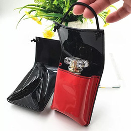 Wholesale Luxury Cosmetic Bags Wholesale - Fashion brand perfume makeup storage bag with logo luxury mini Patent leather cosmetic organizer bag VIP gift