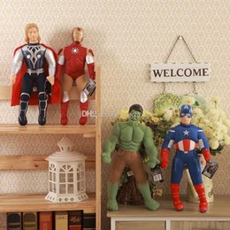 Wholesale Iron Man Anime - 2015 New 40-45cm The Avengers Plush toy doll Captain America Iron Man Hulk Thor spiderman super hero Stuffed Animals 10 styles V124
