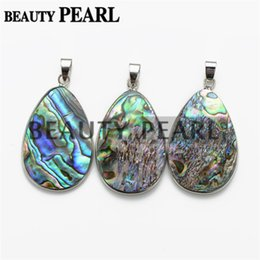 Wholesale Stone Shell Necklace - Silver Plated Simple Oval Teardrop Cut Paua Abalone Shell Pendant with Bead Necklace Chain Natural Abalone Shell Stone Unique Jewelry