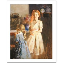 Wholesale Best Hand Painted Canvas - Framed Best Friends,Beautiful young girls by Pino,Pure Hand painted famous Impressionist Art Oil Painting On Canvas,Mulit sizes available ds