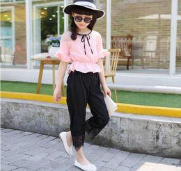 Wholesale Chiffon Girl S Pants - Summer children clothes girl pagoda sleeve shirt+pants 2 pieces suit kids chiffon clothing 6 s l
