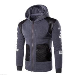 Wholesale Black Stitched Ribbon - High Quality Hoodies Brand Sweatshirts Men Zipper Hoodies Men's Leather Stitching Hoodie Slim Men Sportswear Men M-XXXL W47