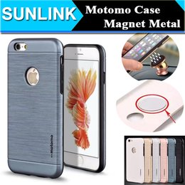 Wholesale Metal Back Magnets - Motomo Brushed PC+TPU Hard Back Cover for iPhone 5 5s se 6 6s Plus Built-in Magnet Metal Sheet for Magnetic Air Vent Holder
