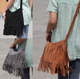 Wholesale Plush Handbag Woman - Hot sell Ms.European and American style plush shoulder Messenger Bag fashion handbags fringed bag frosted CA13N296