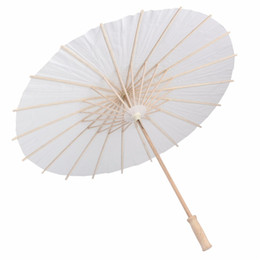 Wholesale Paper Mini - 2017 bridal wedding parasols White paper umbrellas Chinese mini craft umbrella Diameter 20 30 40 60cm wedding umbrellas for wholesale