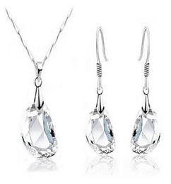 Wholesale Crystal Elements Jewelry - New Fashion Platinum Plated Cubic Clear Crystal Necklace Earrings Made With Swarovski Elements for Women Wedding Jewelry Sets