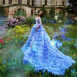 Wholesale Long Layered Skirts - Lavender Gorgeous Wedding Dresses With Long Train V Neck Lace 3 4 Long Sleeves Layered Bohemia Wedding Gowns Romantic Bridal Dress Elegant