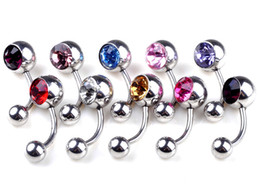 Wholesale Christmas Bell Charms - 1pc Surgical Steel Barbell Navel Belly Button Rings Bar Body Piercing Jewelry 17G Fashion Women Charms Multicolor [BB39]