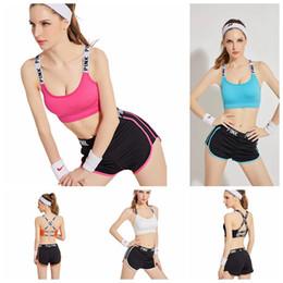 Wholesale Cotton Pants Bra - PINK Tracksuit Women Pink Letter Yoga Suit Summer Sport Wear Fitness Bra Shorts Gym Top Vest Pants Running Underwear Set 5 Colors OOA2959
