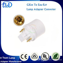 Wholesale E26 E12 Adapters - GX24Q-1 GX24Q-2 GX24Q-3 4 pins GX24 to E27 adapter GX24 to E26 lamp holder converter
