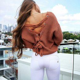 backless sweater long sleeve 2018 - 2017 Autumn V Neck Lacing Loose Set Head Sexy Sweater Woman New Arrival Backless Knitwear 5 colors knit sweater