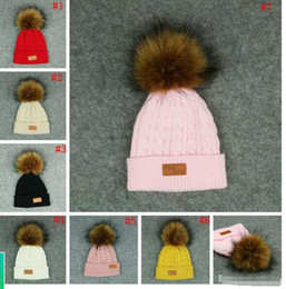 Wholesale Original Hats Wholesale - fitted hats capes Kids Pom Pom Knitted Beanie Women Winter Detachable Fur Ball Hats scarves Knitted Beanies Hat Skullies Caps free shipping
