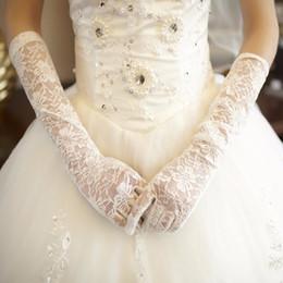 Wholesale Wedding Dresses For Sale Long - Hot Sale Long Lace Bridal Gloves White Black Opera Length Wedding Gloves For Wedding Prom Dresses