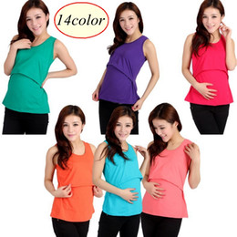 Wholesale Solid Tank Tops - 14colors Modal Nursing Tank tops cheap breastfeeding vest clothes affordable maternity wear clothing for pregnant women pregnancy dresses