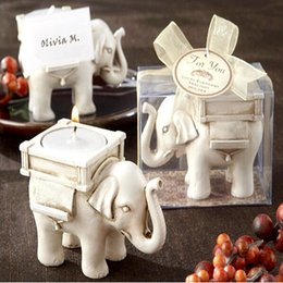 Wholesale Ivory Elephant Candle Holder - Fashion Style and high quality Resin Ivory Lucky Elephant Tea Light Candle Holder Wedding Party Home Decoration Gift DHL Free Shipping