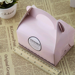 Wholesale Cupcake Portable Box - 1000pcs lot Free Shipping Portable Handle Bakery Cake Boxes Mousse Cookies Pastry Packaging Boxes