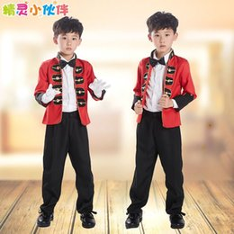 Wholesale Boys Size 6t Clothes - Children's Clothing Sketch Mime Red Boy Costumes Dance Stage Performance Boy Suits Size 100-160