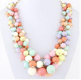 Wholesale Statement Necklace Candy Chunky - Wholesale-Charming Exquisite Chunky Necklace Big Acrylic Candy Colour Flower Jewelry Bib Statement Grapes Fashion Necklace WomenParty Gifts