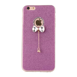Wholesale Rose Gold Pendent - 30pcs 3D Handmade Rhinestone Glitter Bling TPU Soft Case with Sparkly Bow Knot Crystal Pendent Charms for iPhone 7 7Plus