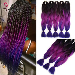 Wholesale Synthetic Hair Extensions Purple - Purple Braiding Hair ombre Two Tone High Temperature Fiber expression braiding hair 100g pcs synthetic braiding hair Extensions