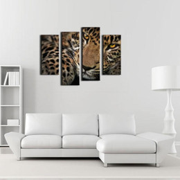 Wholesale Leopard Print Home Decor - 4 Panel Wall Art Painting Fleck Leopard Prints On Canvas The Picture Animal Pictures Oil For Home Modern Decoration Print Decor For Items