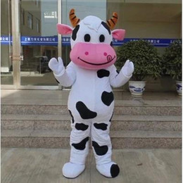Wholesale Cow Cartoon Costume - Hot sale!! PROFESSIONAL FARM DAIRY COW Mascot Costume cartoon Fancy Dress Free Shipping