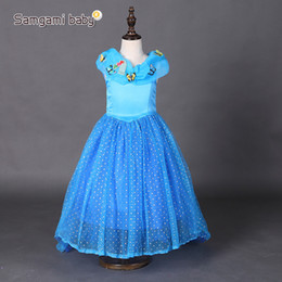Wholesale Baby Xmas Costumes - Baby Girl Cinderella butterfly Dresses Children Girls Party Cosplay Costume Kids Halloween Xmas Dresses Clothes blue