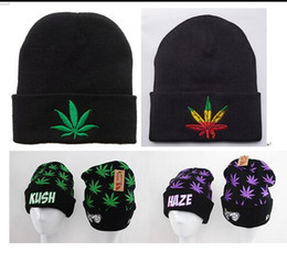 Wholesale Kush Hats - Black KUSH Beanies Street Hip Hop Brand Beanie Winter Warm Caps Fashion Knitted Wool Cap for Women Men Beanies Fashion Hats Hot Sale