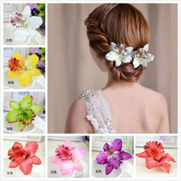 Wholesale Wedding Hair Side - Colorful Bridal Wedding Orchid Flower Hair Clip Barrette Women Girls Accessories Hair Jewelry Bride Hairpins Side clips Beach Style Headwear