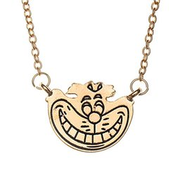 Wholesale Funny Necklaces - Funny doll pendant necklace alloy gold smile face pendants for women kids fashion jewelry Christmas gift 160639