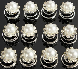 Wholesale Twist Pins Crystal Wholesale - 12Pcs Crystal Wedding Bridal Hair Pins Twists Coils Flower Swirl Spiral Hairpins