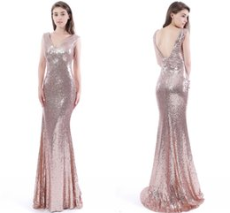Wholesale Rose Pear - Rose Pink Sparkling Mermaid Prom Dresses 2016 V Neck Sequined Evening Dresses Low Back Sweep Train Formal Party Gowns Cheap In Stock CPS409