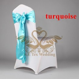 Wholesale Turquoise Satin Chair Sashes Wholesale - Top Quality Spandex Chair Cover With Turquoise Color Satin Chair Sash
