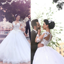 Wholesale Sweetheart Transparent Wedding Dress - Arabic Wedding Dresses 2016 Long Transparent Sleeve Lace Appliques Ball Gown Sheer Puffy Wedding Dresses Vestidos de Fiesta