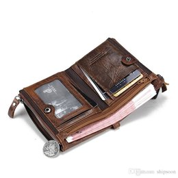 Wholesale Crazy Designer - Genuine Crazy Horse Cowhide Leather Men Wallet Short Coin Purse Small Vintage Wallet Brand High Quality Vintage Designer