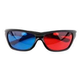 Wholesale Video Glasses Pc - 9824 PC+AC Universal 3D Plastic Glasses Black Frame Red Blue 3D Visoin Glass For Passive Cinema Dimensional Anaglyph Movie Game DVD Video TV