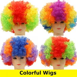 Wholesale Wig Props - New Masquerade props for Cosplay Wigs Party Wigs tire fans clown wig explosion hair color colorful hair Wigs 3023