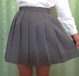 Wholesale Schoolgirls Skirt - Wholesale-Japanese JK macarons pleated uniform skirt schoolgirl uniform skirt high waist solid color skirt multicolor