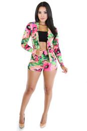 Wholesale Colorful Blazers - Hot 2016 Women OverallsTwo-piece Set Suit Shorts Colorful Flower Print Slim Blazer Casual Pants Twinset Party Clubwear