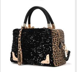 Wholesale Cheap European Fashions - Fashion Casual Women Designer Handbag Brand PU Leather Leopard Print Paillette Sequin Shoulder Tote Luxury Messenger Bag High Quality Cheap
