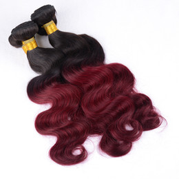 Wholesale Cheap Russian Extensions - Malaysian Virgin Hair Body Wave 3Pcs Natural Black 1B Burgundy 100% Unprocessed Remy Human Hair Weaves Cheap Indian Virgin Hair Extensions