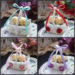 Wholesale Bamboo Flower Basket - Upscale Lace Flower Side Bamboo Basket Design Yarn Wedding Candy Box Party Favor Chocolate Boxes 7 Color Available 100pcs lot