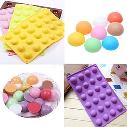 Wholesale Pastry Trays - 24 Half Ball Sphere Silicone Mold Cake Muffin Pastry Jelly Mould DIY Tray Baking Cake Decoration