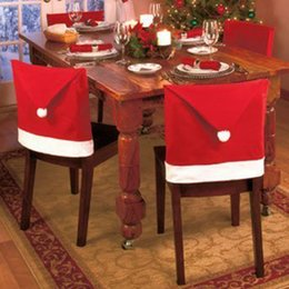 Wholesale Festival Chair - 1 4 pc(s) HOMESTIA Red Non-woven Santa Hat Chair Cover Christmas Decor Xmas Decoration Festival Party Supplies Free Shipping