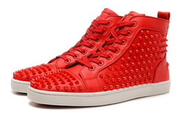 Wholesale shoe shaped buttons - Luxury Brand Red Bottom Sneakers Red Suede with Spikes Casual Mens Womens Shoes Shape a unified Red nail Trainers Footwear Flat Shoes