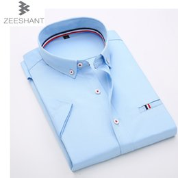 Wholesale Mens Dress Shirt Classic - Wholesale-Mens Work Shirts Brand Clothing Chemise Hoome Short Sleeve Dress Shirts White Male Shirts Classic-Fit Button Down Formal Shirt